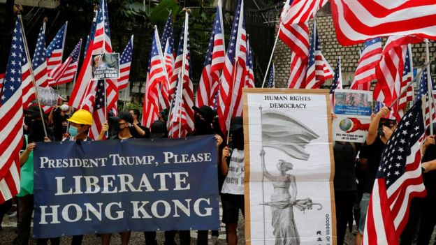 Hong Kong protesters appeal to Trump for help