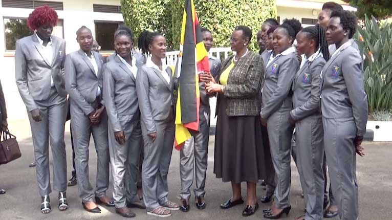 First Lady Janet Museveni Sees off The She-Cranes Takeoff To Netball World cup 2019, as players Plan To Strike Over Unfulfilled Bonus Promises